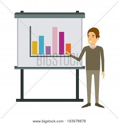 white background with businessman in formal clothes with hairstyle side fringe making presentation vector illustration