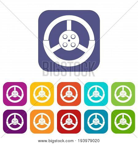 Steering wheel icons set vector illustration in flat style In colors red, blue, green and other