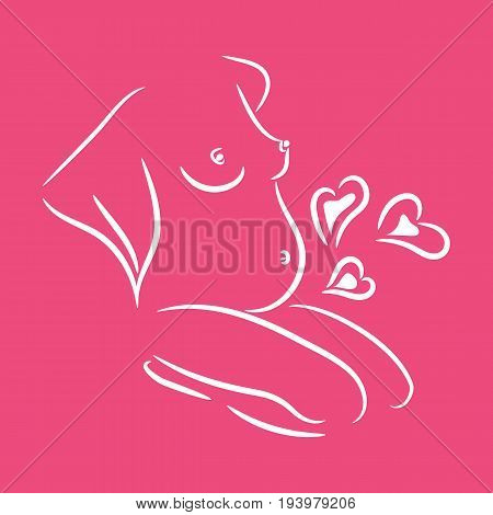 Silhouette of a pregnant woman, childbirth and maternity, stage of pregnancy, birth, vector illustration