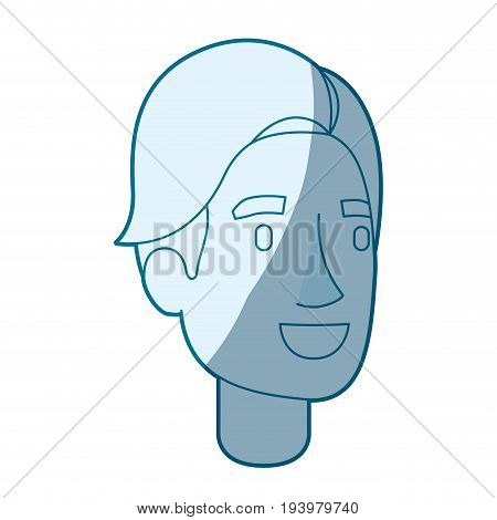 blue color silhouette shading of man face with hair side fringe vector illustration