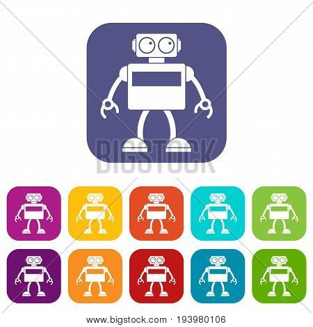 Android robot icons set vector illustration in flat style In colors red, blue, green and other