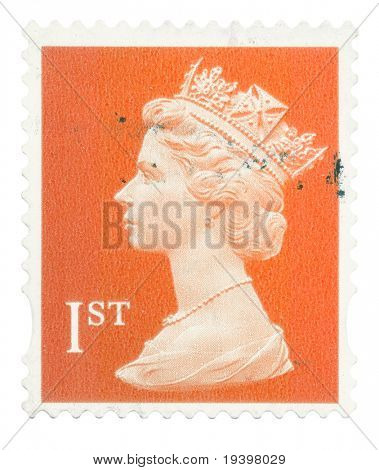UNITED KINGDOM - CIRCA 1993 to 2005: An English Used First Class Postage Stamp showing Portrait of Queen Elizabeth 2nd, circa 1993 - 2005