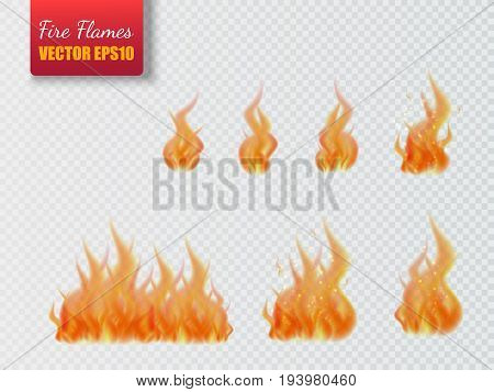 Set of fire flames isolated on transparent background. Vector realistic special effect