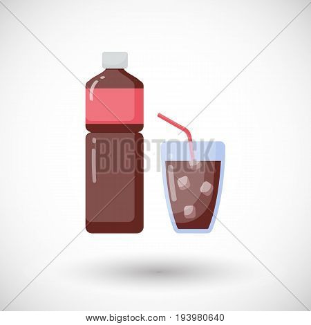 Cola vector flat icon Flat design of bottle and glass of sparkling drink with round shadow cute vector illustration