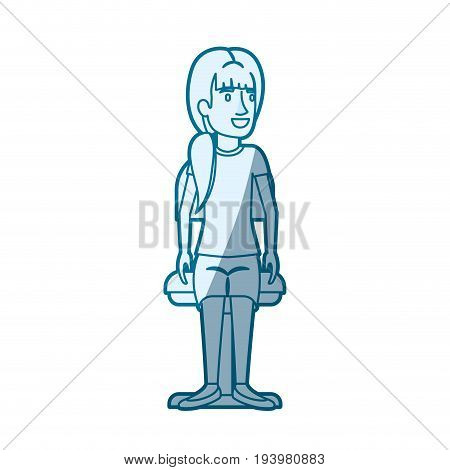 blue color silhouette shading of woman with ponytail side hair and sitting in chair vector illustration