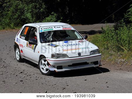 La Spezia Italia - July 02 2017 - Rally Golfo dei Poeti: the Peugeot 106 rally of the Bianchi-Barsanti crew, Racing For Genova scuderia, during the first special rally test.
