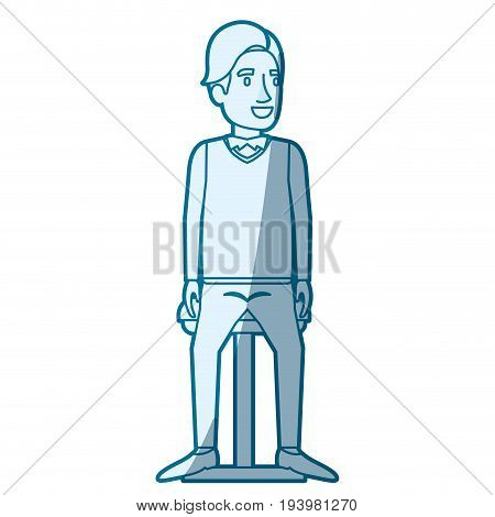 blue color silhouette shading of man with hair side fringe and sitting in chair vector illustration vector illustration