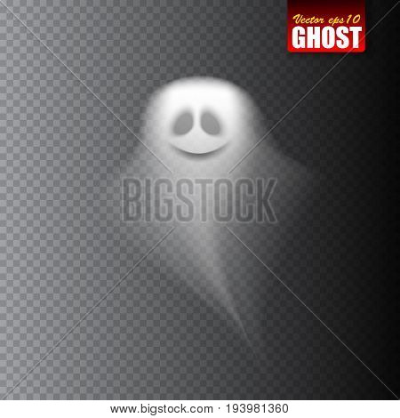 White ghost isolated on transparent background. Vector illustration.