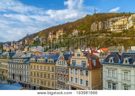 View of houses on the hill in Karlovy Vary Czech republic