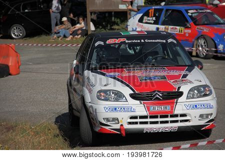 La Spezia Italy - Lugio 2 2017 Rally Gulf of Poets: The Citroen Saxo N2 of the Puppa-Micheli crew engaged in the race.