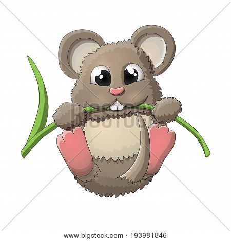 Funny happy mouse character vector illustration, EPS10