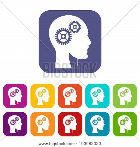 Gears in human head icons set vector illustration in flat style In colors red, blue, green and other