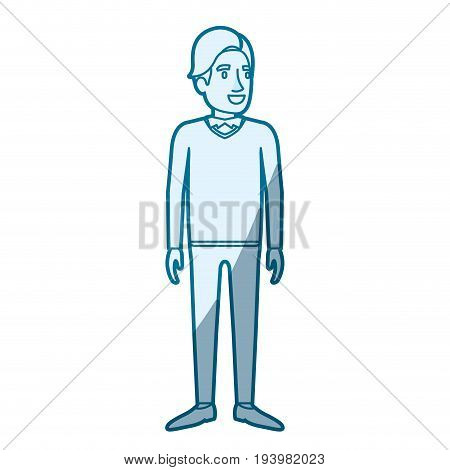 blue color silhouette shading of man standing with formal clothes and hair in side fringe vector illustration