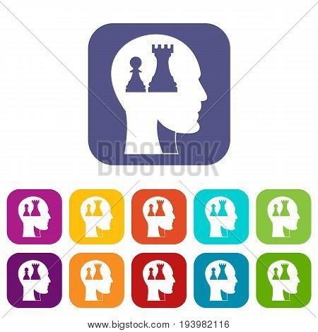 Head with queen and pawn chess icons set vector illustration in flat style In colors red, blue, green and other