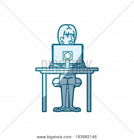 blue color silhouette shading of woman with ponytail hair and sitting in chair in desk with computer device vector illustration