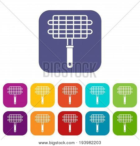 Stainless barbecue grill camping basket icons set vector illustration in flat style In colors red, blue, green and other