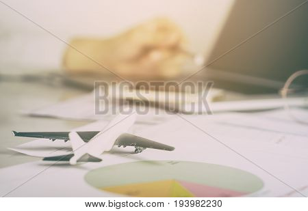 Business man is working in Aviation industry office