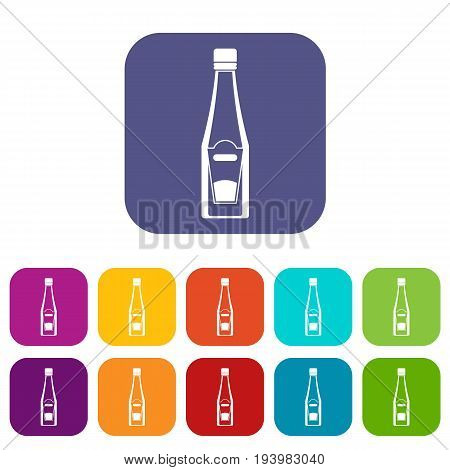 Bottle of ketchup icons set vector illustration in flat style In colors red, blue, green and other