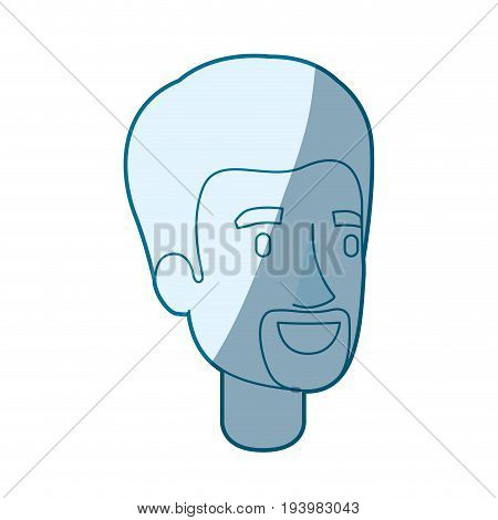 blue color silhouette shading of man face with beard van dyke vector illustration
