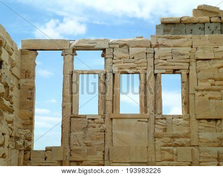 The remains of The Erechtheion (Erechtheum), an ancient Ionic Temple on the Acropolis of Athens, Greece