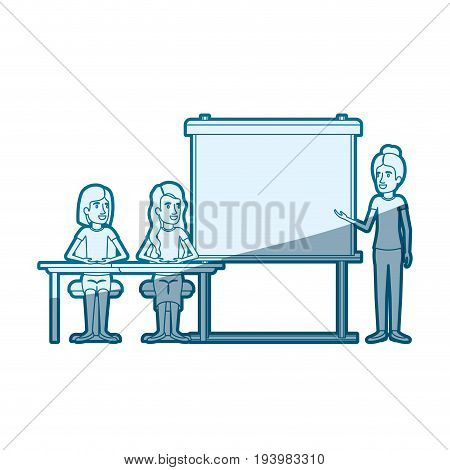 blue color silhouette shading with couple of women sitting in a desk for female executive in presentacion business people vector illustration