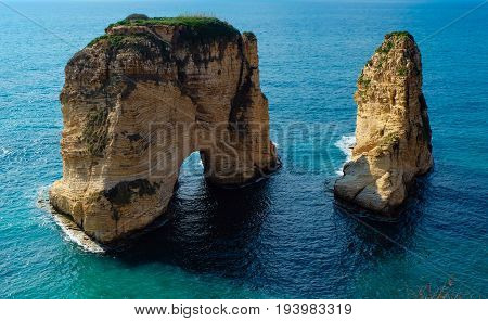 rock formation in the sea - Pigeons Rock / Sabah Nassar's Rock / Raouche in Beirut, Lebanon