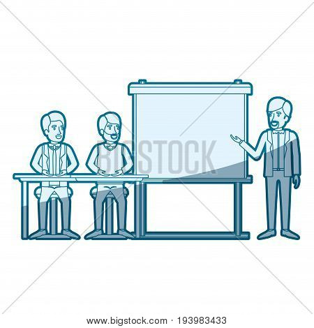 blue color silhouette shading with couple of man sitting in a desk for executive orator in presentacion business people vector illustration