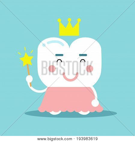 Cute cartoon tooth character in a pink dress and gold crown holding magic wand, dental vector Illustration for kids on a light blue background
