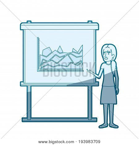 blue color silhouette shading of businesswoman with ponytail hairstyle making presentation vector illustration