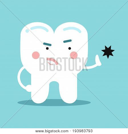 Cute cartoon healthy opposing tooth decay, dental vector Illustration for kids on a light blue background