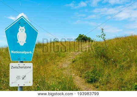 Wangerooge, Germany.  04Th July 2017:  View Of The Sign Of The National Park On The Island Wangeroog