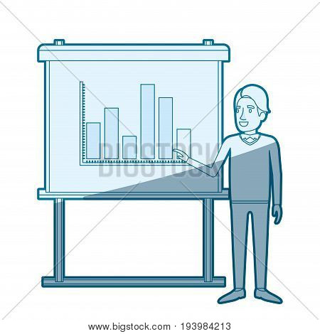 blue color silhouette shading of businessman in formal clothes with hairstyle side fringe making presentation vector illustration