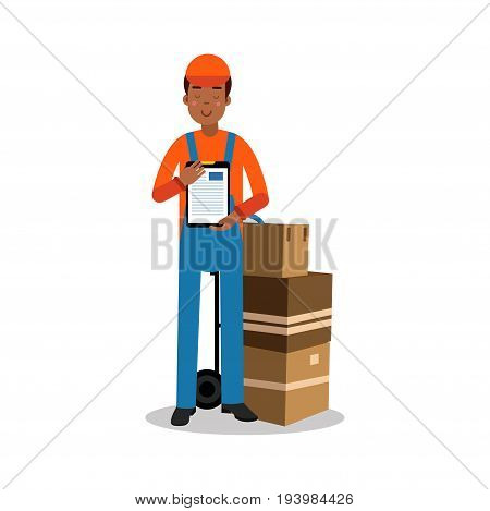 Delivery man delivering boxes and documents, courier in uniform at work cartoon character vector Illustration isolated on a white background
