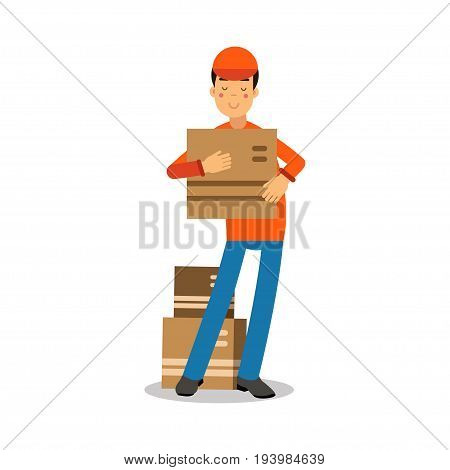 Delivery man standing and holding cardbox, courier in uniform at work cartoon character vector Illustration isolated on a white background