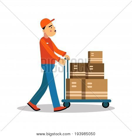 Delivery man carrying boxes on a hand truck, courier in uniform at work cartoon character vector Illustration isolated on a white background