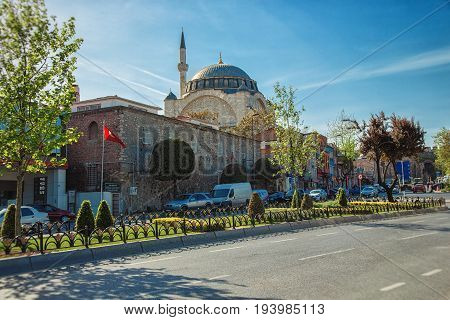 ISTANBUL TURKEY - APRIL 30 2017: Mihrimah Sultan Mosque in the area Edirnekapi Istanbul's historic center was built by Mimar Sinan.