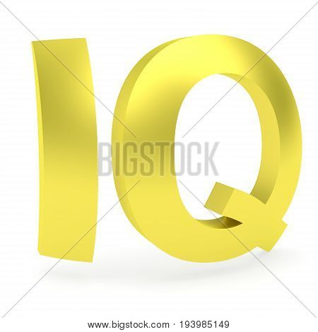 3D rendering of curved golden IQ sign