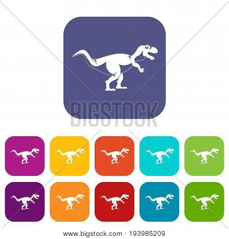 Tyrannosaur dinosaur icons set vector illustration in flat style In colors red, blue, green and other