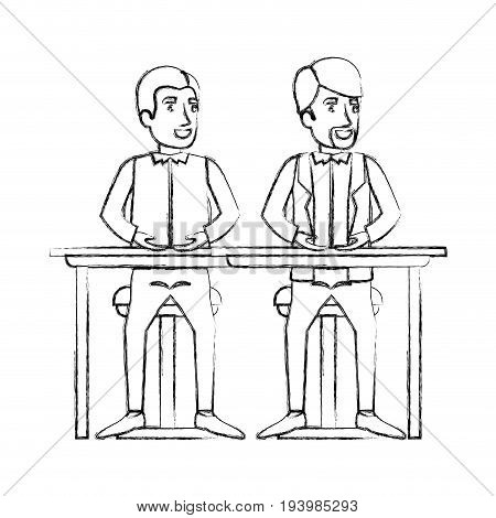 blurred silhouette of men sitting in desk one with casual clothes and the other with formal clothes and van dyke beard vector illustration