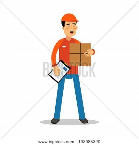Delivery man holding cardbox and check list, courier in uniform at work cartoon character vector Illustration isolated on a white background