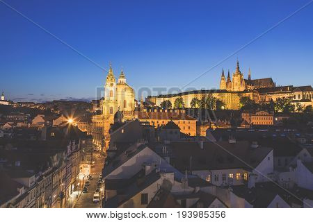 Prague Castle and Mala Strana district during spring sunset.