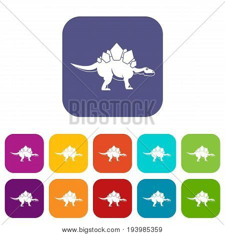 Stegosaurus dinosaur icons set vector illustration in flat style In colors red, blue, green and other