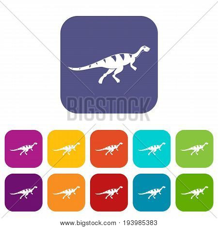 Gallimimus dinosaur icons set vector illustration in flat style In colors red, blue, green and other