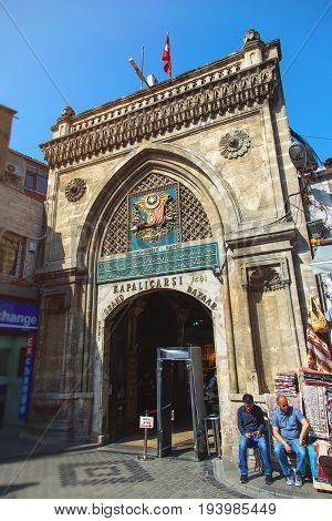 ISTANBUL TURKEY - MAY 2 2017: Gateway main entrance to the Grand Bazaar one of the largest covered markets in the world