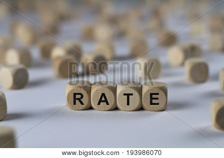Rate - Cube With Letters, Sign With Wooden Cubes
