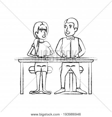 blurred silhouette teamwork of couple sitting in desk and woman with ponytail hair and man side parted hair in formal suit vector illustration