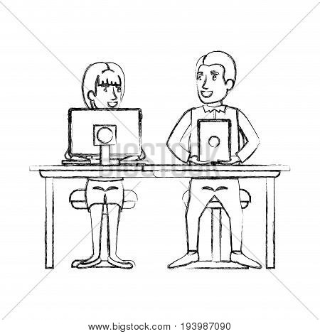 blurred silhouette teamwork of couple sitting in desk with tech device and woman with ponytail hair and man in formal suit vector illustration