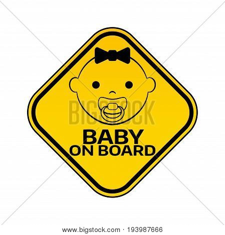 Baby On Board Sign With Child Girl Smiling Face With Nipple Silhouette In Yellow Rhombus On A White