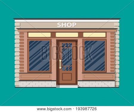 Generic shop exterior. Wooden and bricks material. Commercial, property. Vector illustration in flat style