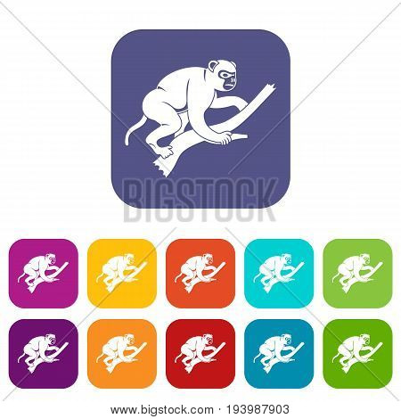 Monkey is climbing up on a tree icons set vector illustration in flat style In colors red, blue, green and other